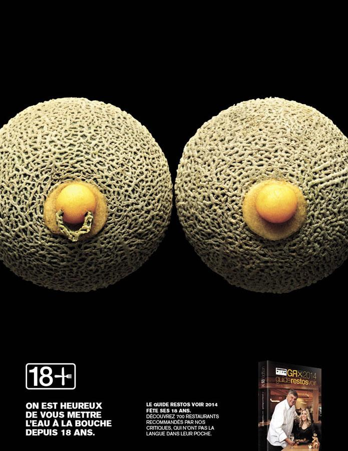 Des aliments pornographiques pour la nouvelle campagne du Guide resto Voir 2014