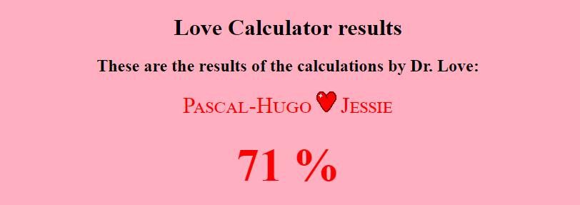 On a calculé la compatibilité des « couples » de OD Bali avec The Love Calculator et voici ce que ça a donné