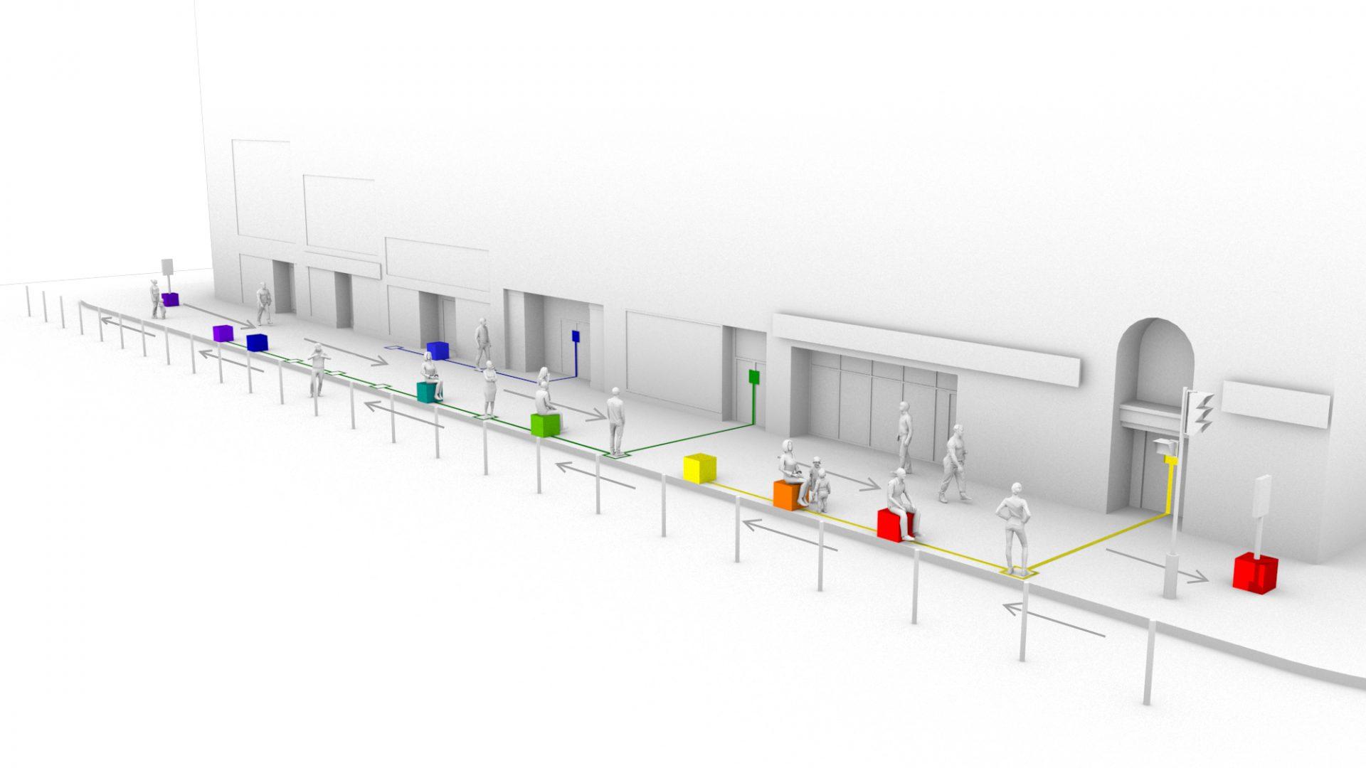 Signalétique et mobilier de gestion conviviale des files d'attentes - Prototype par Dix au Carré pour Destination centre-ville-1