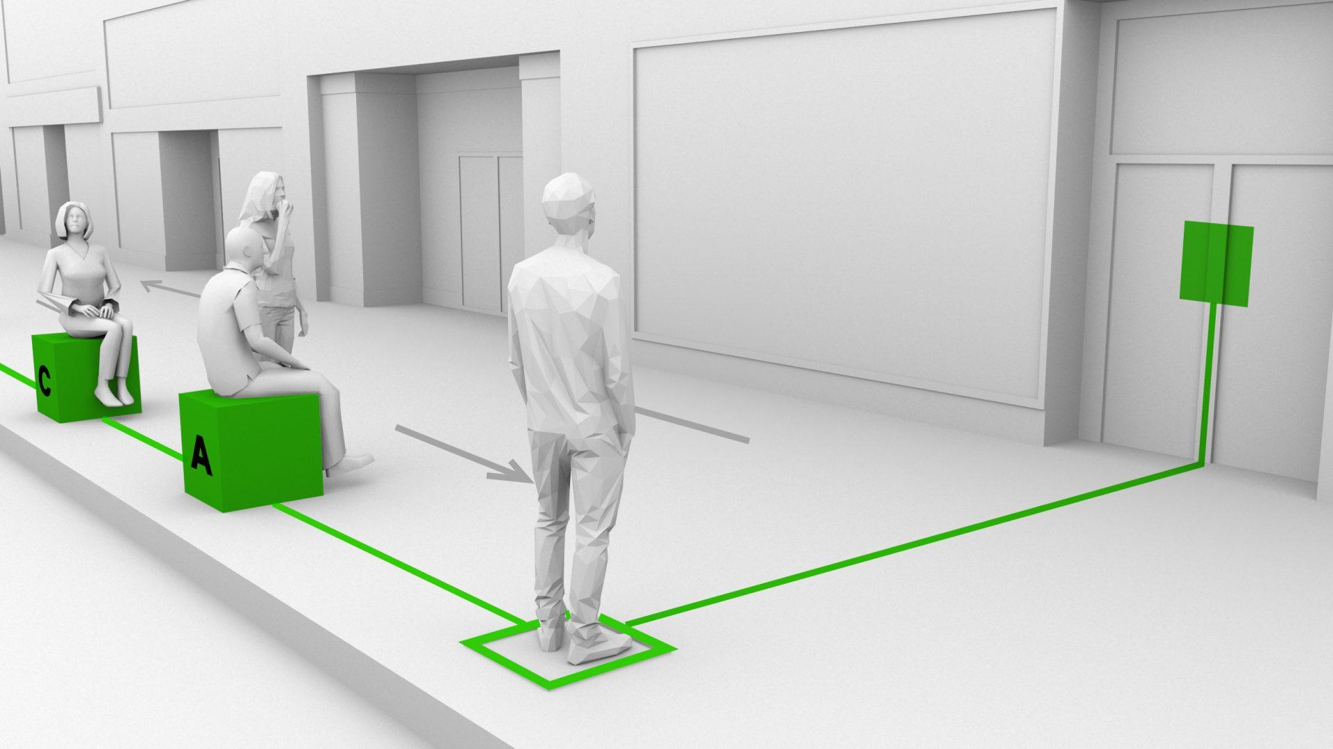 Signalétique et mobilier de gestion conviviale des files d'attentes - Prototype par Dix au Carré pour Destination centre-ville-3