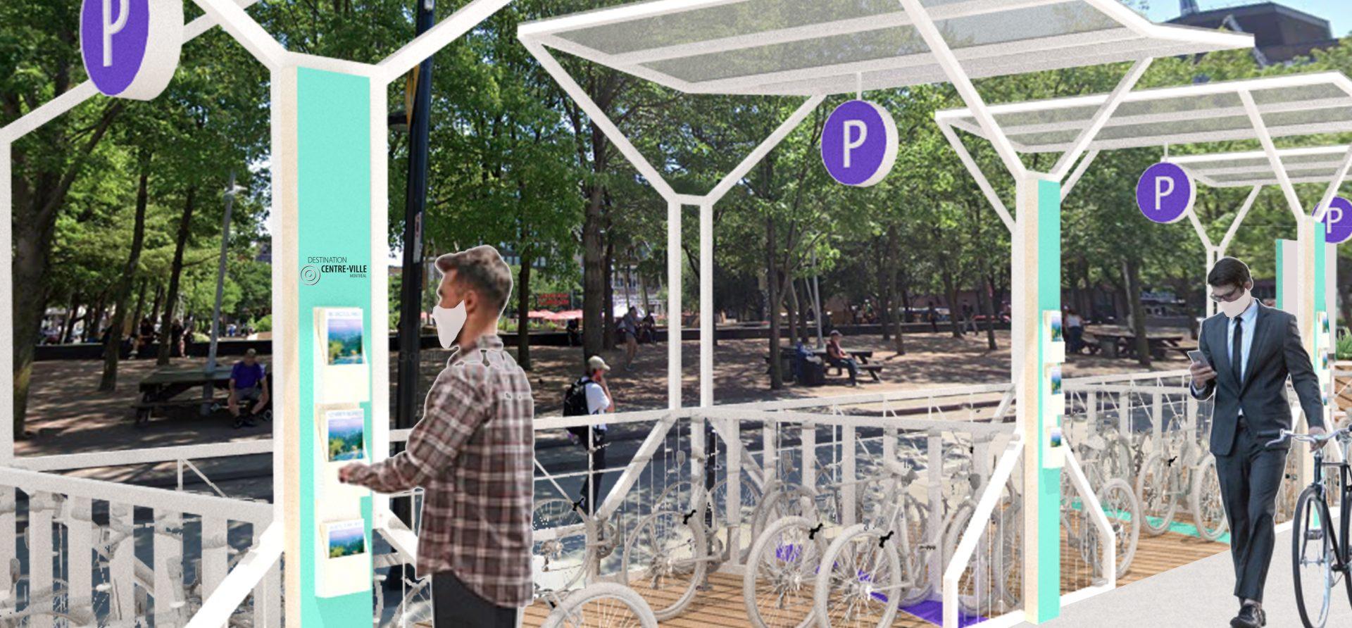 Stations de vélo sanitaires - Prototype par Îlot 84 pour Destination centre-ville-1