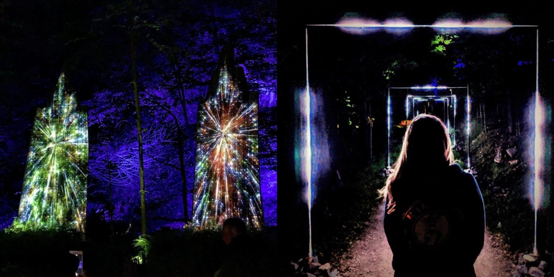 Ce parcours lumineux en forêt situé à 1h30 de Montréal est parfait pour vos prochaines soirées d'automne!